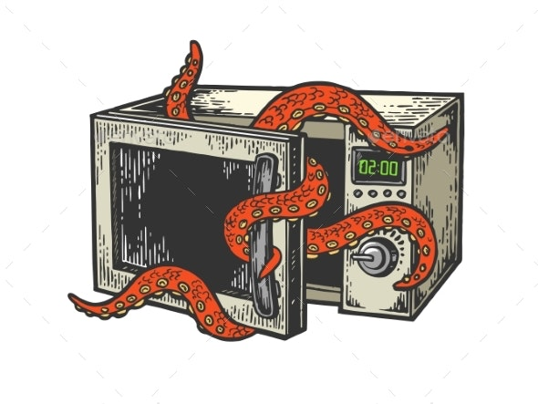 Octopus in Microwave Oven Color Sketch Engraving - Technology Conceptual