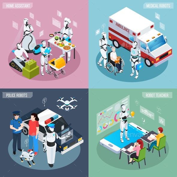 Robot Isometric Professions Icon Set - Computers Technology