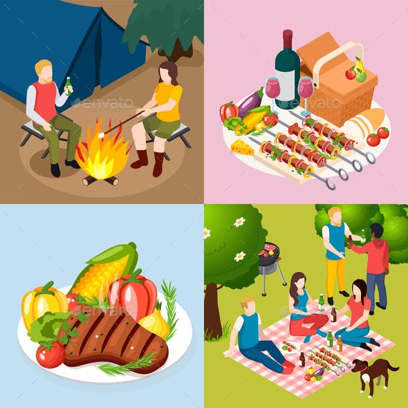 BBQ Grill Picnic Isometric Icon Set