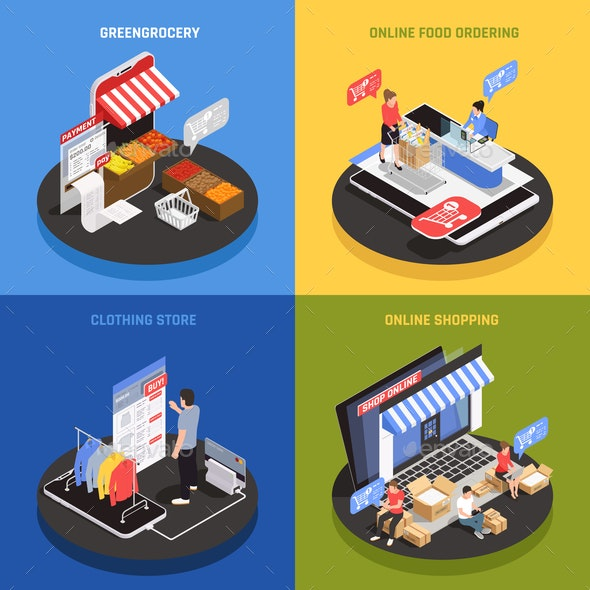 Mobile Shopping Concept Icons Set - Food Objects