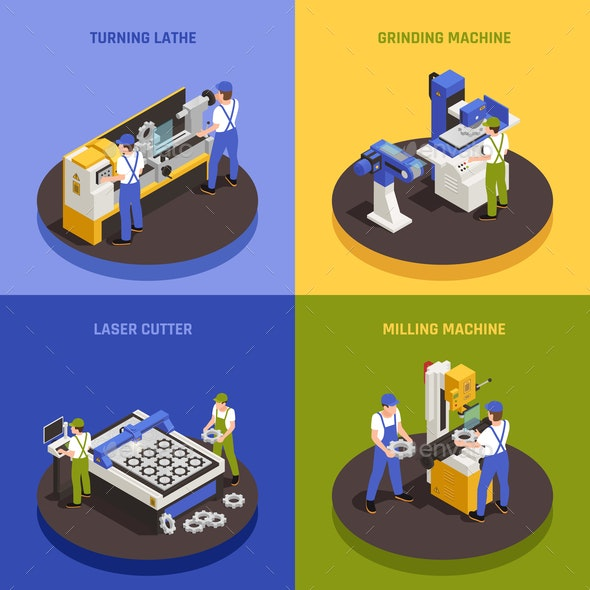 Industrial Machinery Concept Icons Set - Industries Business