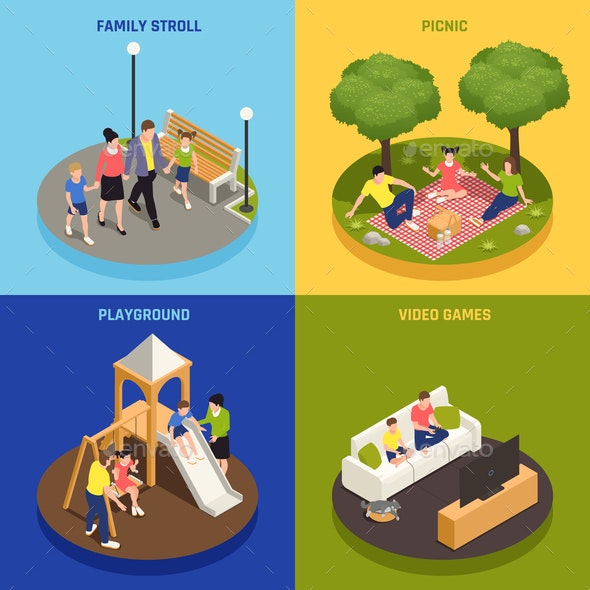 Family Playing Concept Icons Set - Sports/Activity Conceptual