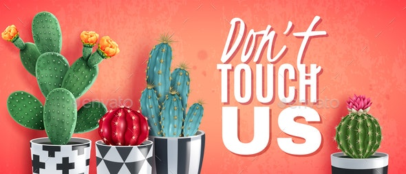 Cactus Realistic Horizontal Poster - Backgrounds Decorative
