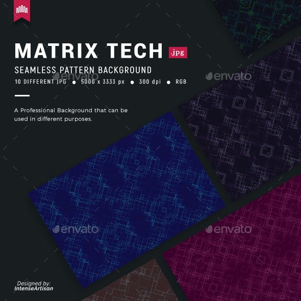 Matrix Tech Seamless Pattern Background