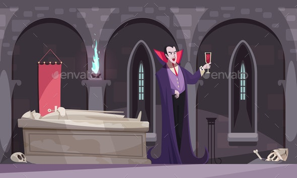 Vampire Drinking Blood Illustration - Backgrounds Decorative