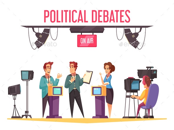 TV Political Debates Illustration - Backgrounds Decorative