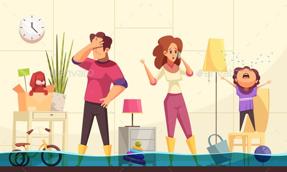 Plumber Flooded House Illustration - Miscellaneous Vectors