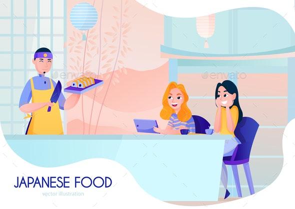 Cook Cartoon Illustration - Food Objects