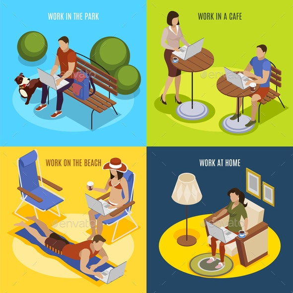 Freelancer Day Isomeric Concept - Miscellaneous Vectors