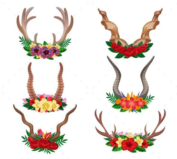 Horns Ornamental Floral Set - Animals Characters