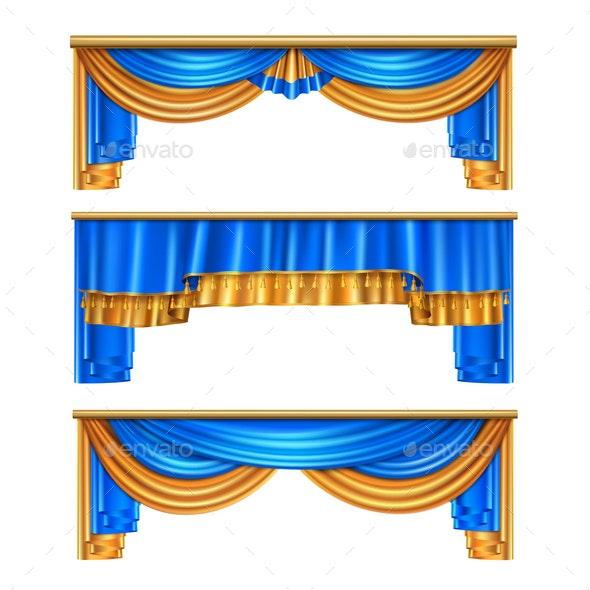 Draping Curtains Realistic Set - Miscellaneous Vectors
