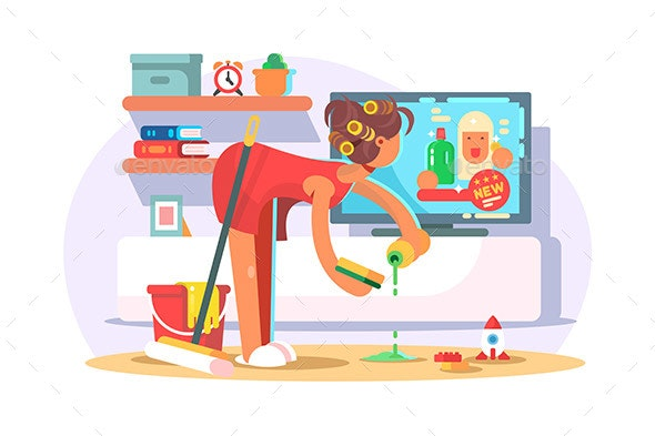 Housewife Cleaning House - People Characters