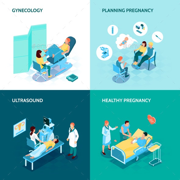 Gynecology and Pregnancy Concept Icons Set - Industries Business