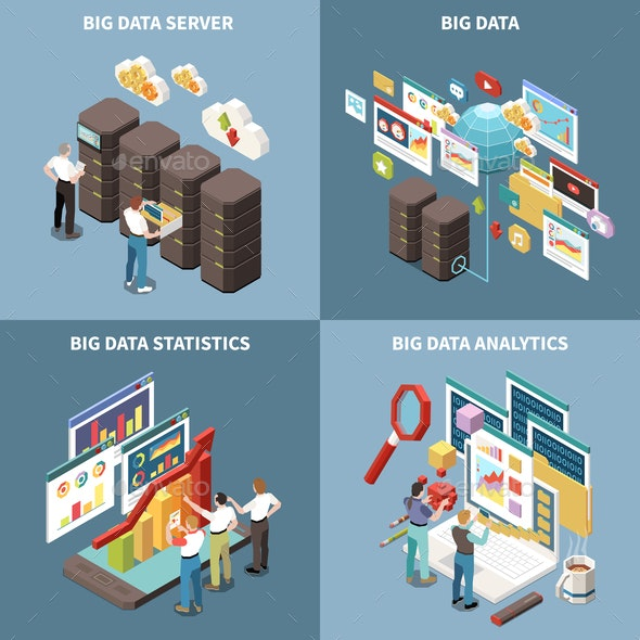 Big Data Analytics Isometric Icon Set - Computers Technology
