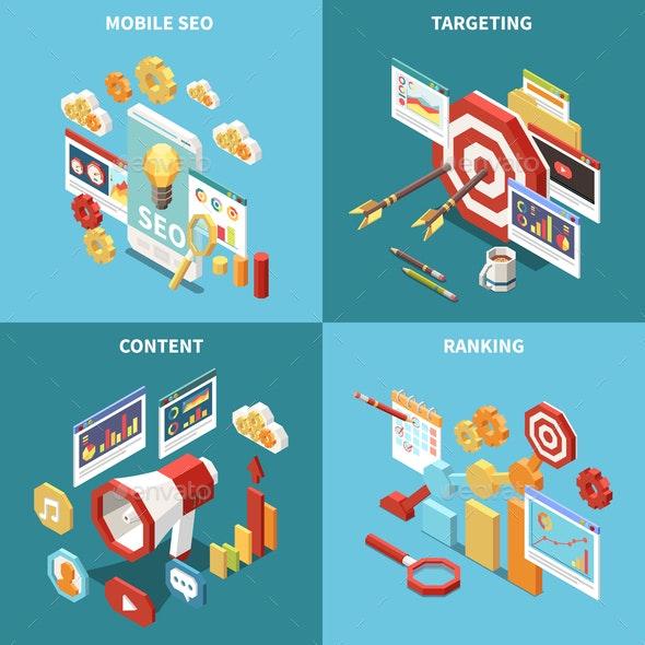 Isometric Web SEO Icon Set - Concepts Business