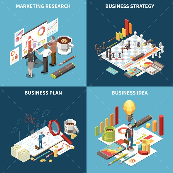 Business Strategy Isometric Icon Set - Concepts Business