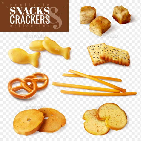 Crackers and Snacks Transparent Set - Food Objects
