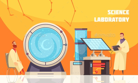 Experimenting Scientists in Laboratory - Miscellaneous Vectors