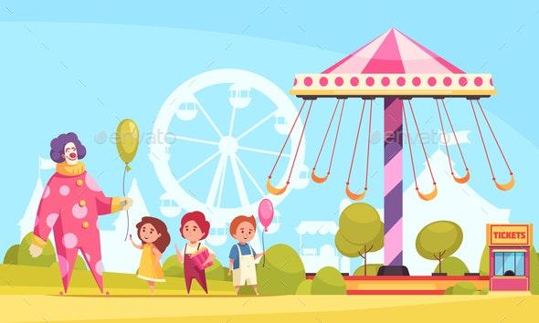 Amusement Park Cartoon Background - Industries Business
