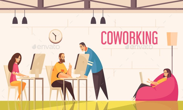Coworking People Horizontal Illustration - People Characters