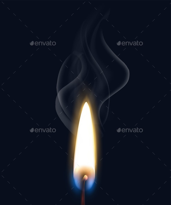 Realistic Burning Flame Smoke Composition - Backgrounds Decorative