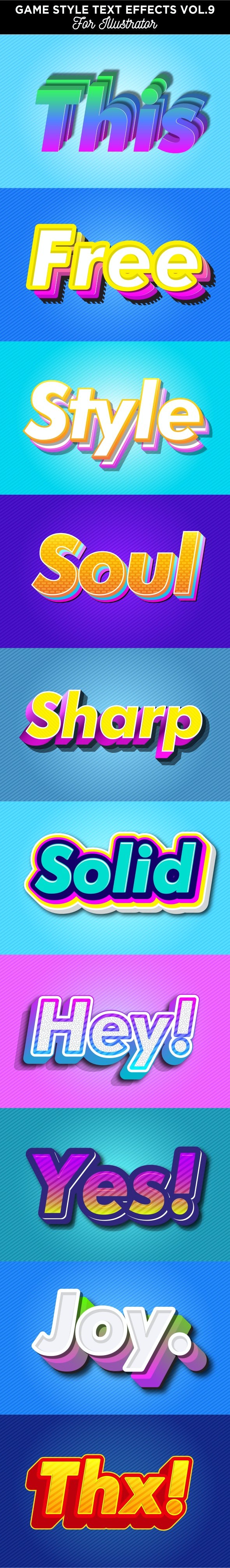 Game Style Text Effects for Illustrator - Styles Illustrator