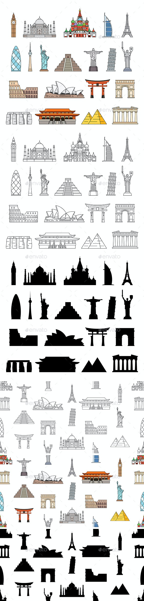 World Monuments Icons - Travel Conceptual