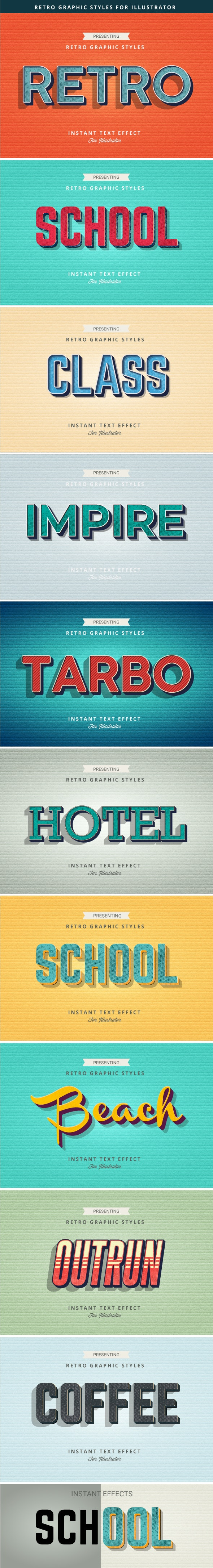 Retro Text Effects - Styles Illustrator