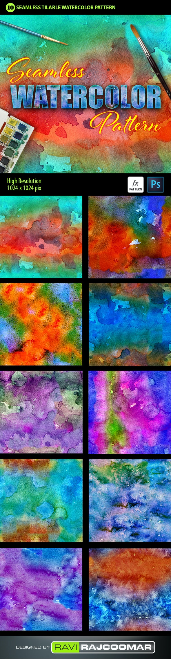 Watercolor Photoshop Pattern Vol.1 - Textures / Fills / Patterns Photoshop