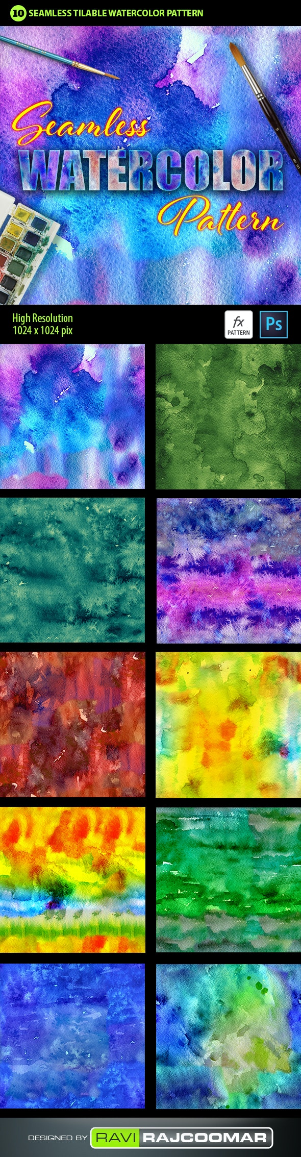 Watercolor Photoshop Pattern Vol.3 - Textures / Fills / Patterns Photoshop