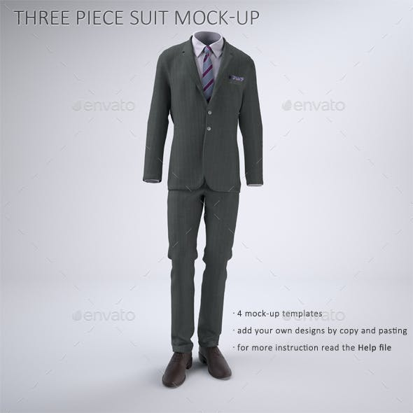 Man's Three Piece Suit With Jacket And Vest Mock-up