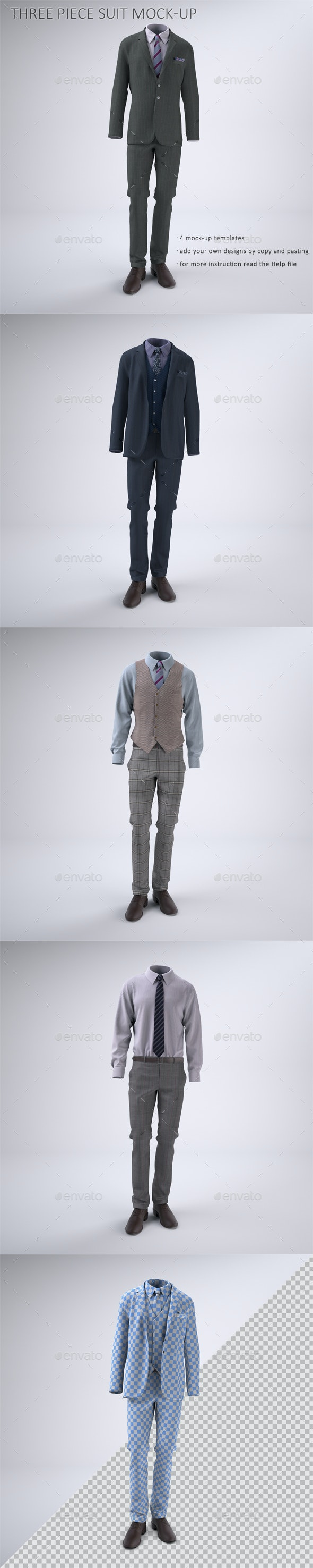 Man's Three Piece Suit With Jacket And Vest Mock-up - Apparel Product Mock-Ups