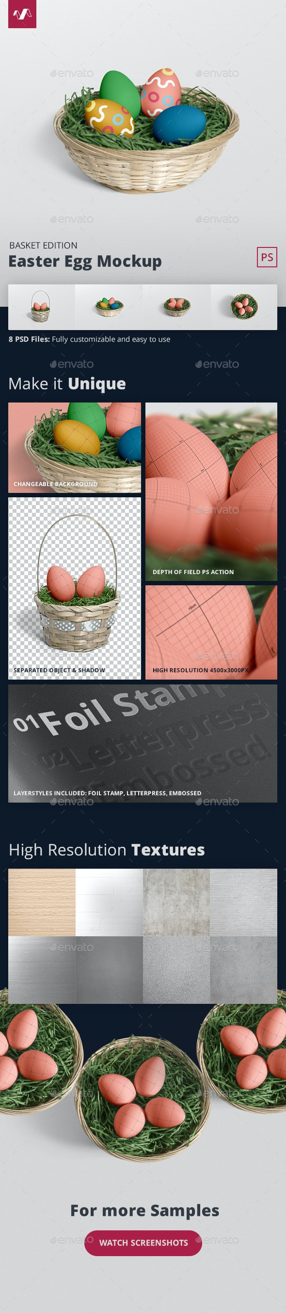 Easter Egg Mockup Basket Edition - Miscellaneous Product Mock-Ups