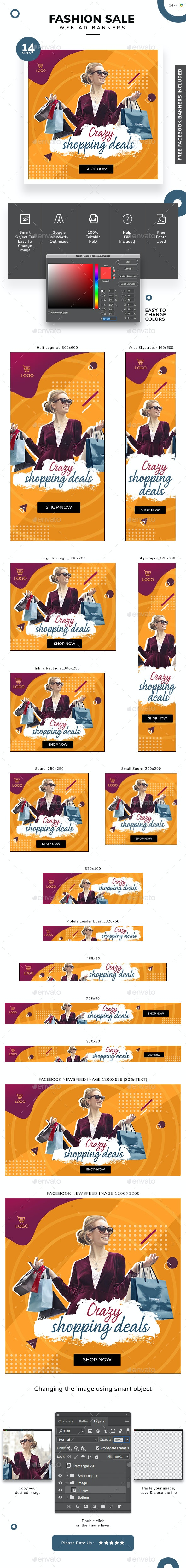 Fashion Sale Web Banner Set - Banners & Ads Web Elements