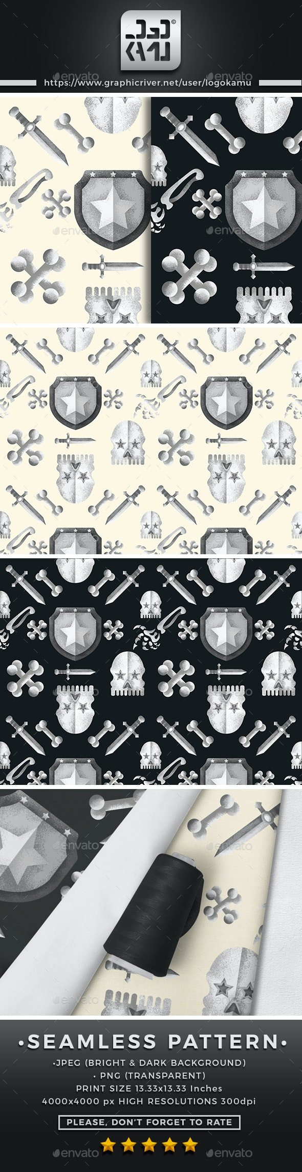 Skull Seamless Pattern - Patterns Backgrounds