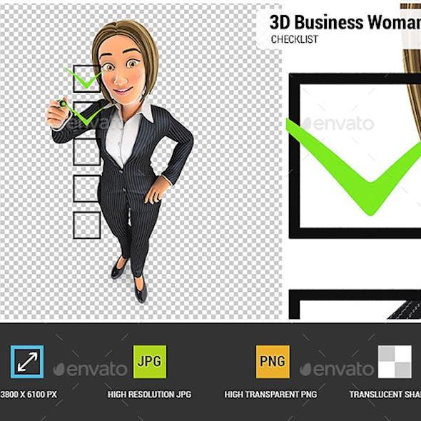 3D Business Woman Checklist