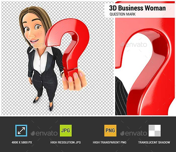 3D Business Woman Holding a Question Mark Icon - Characters 3D Renders