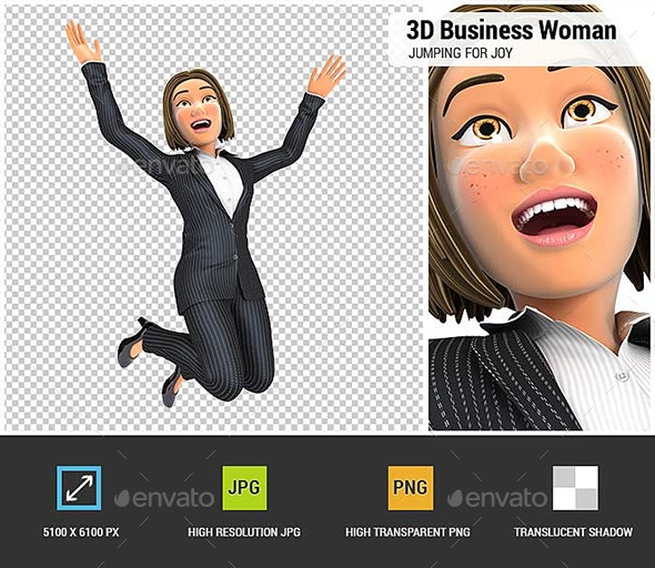 3D Business Woman Jumping for Joy - Characters 3D Renders