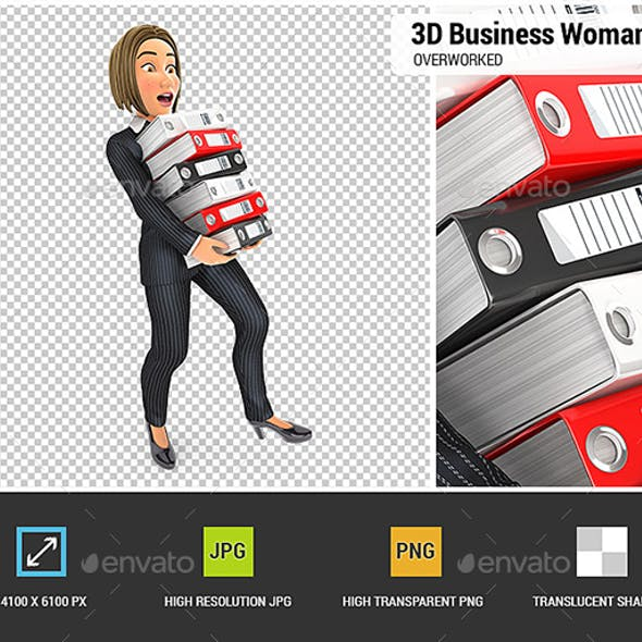 3D Business Woman Overworked