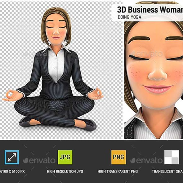 3D Business Woman Sitting in Lotus Position and Doing Yoga