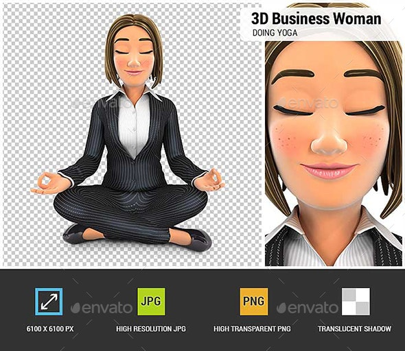 3D Business Woman Sitting in Lotus Position and Doing Yoga - Characters 3D Renders