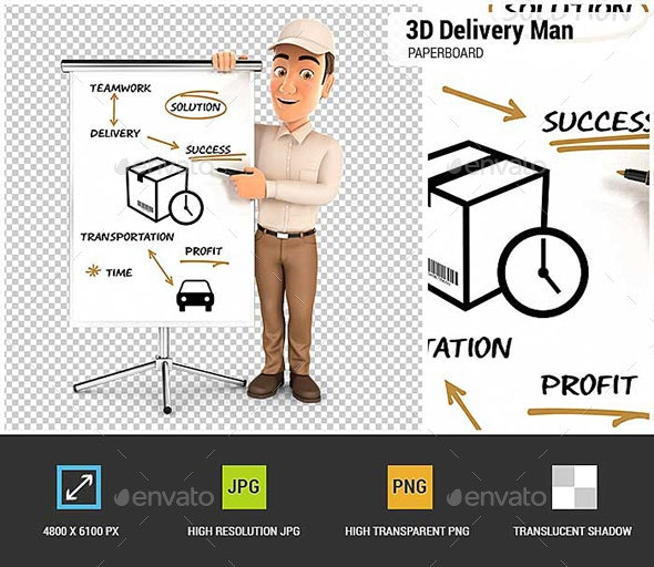 3D Delivery Man Writing on Paperboard - Characters 3D Renders