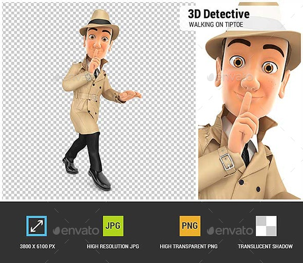 3D Detective Walking on Tiptoe - Characters 3D Renders