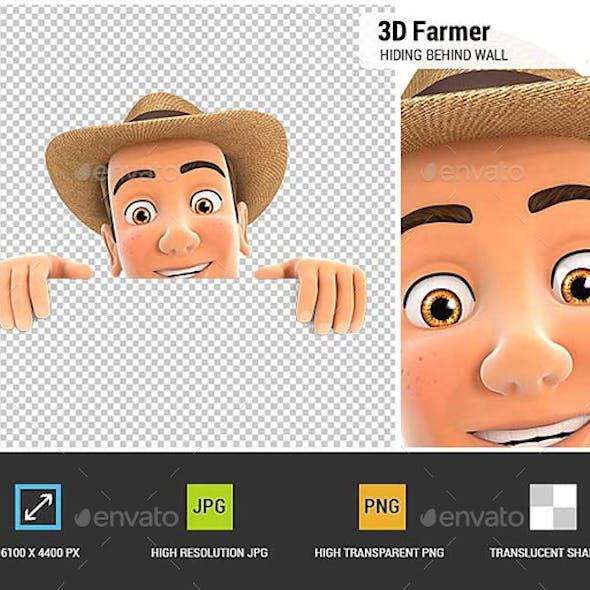 3D Farmer Hiding Behind White Wall