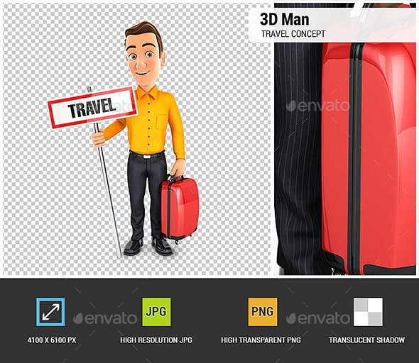 3D Man Travel Concept - Characters 3D Renders