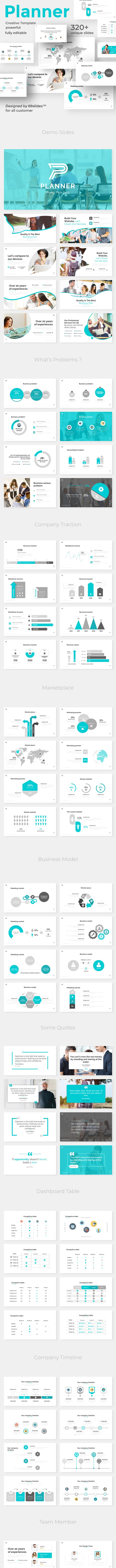 Project Planner Pitch Deck Powerpoint Template - Business PowerPoint Templates