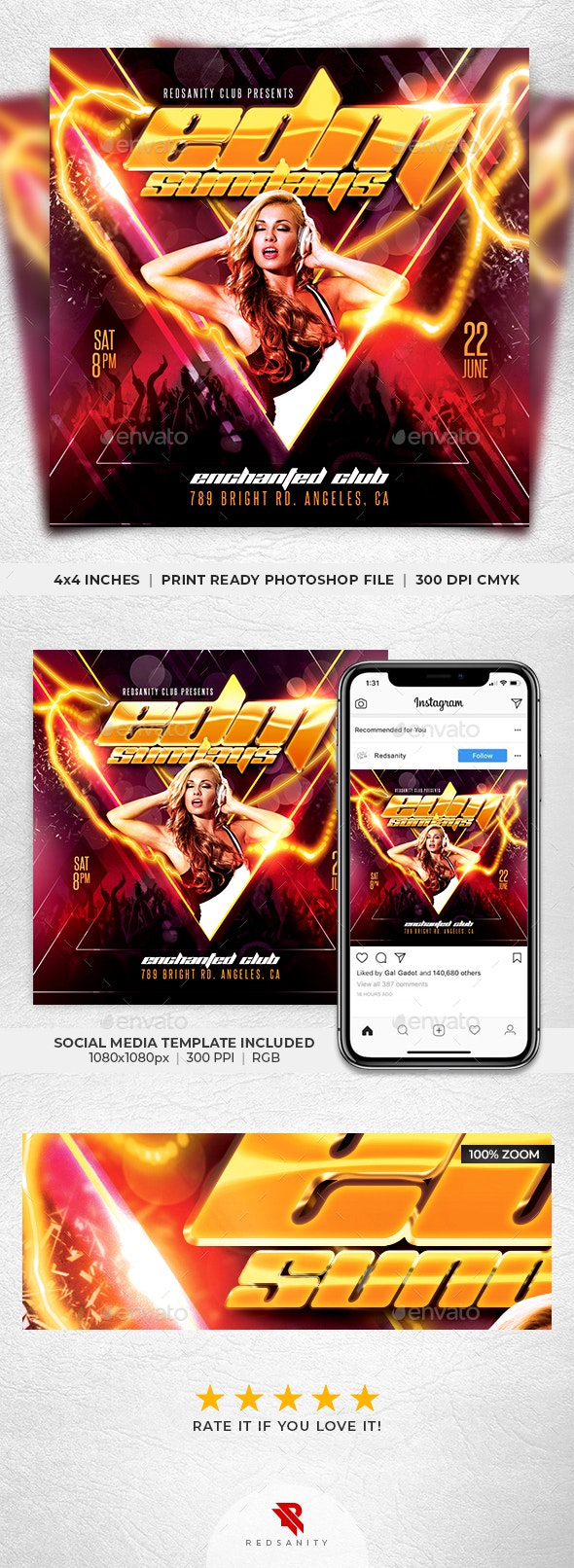 Electro Dance Music Flyer - Clubs & Parties Events