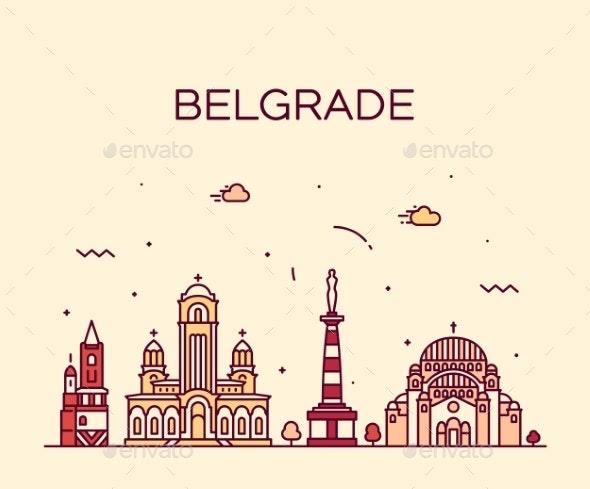 Belgrade Serbia Skyline Vector City Linear Style - Buildings Objects