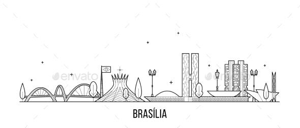 Brasilia Skyline Brazil City Buildings Vector Line - Buildings Objects