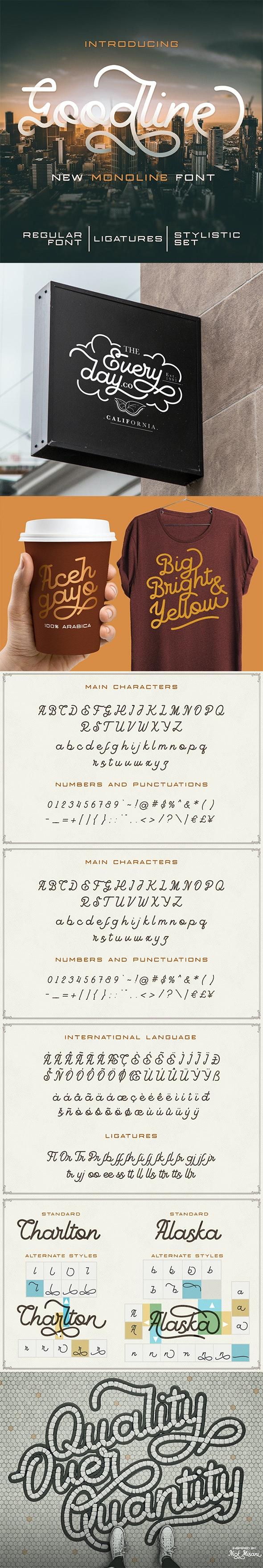 Goodline - Monoline Font - Hand-writing Script